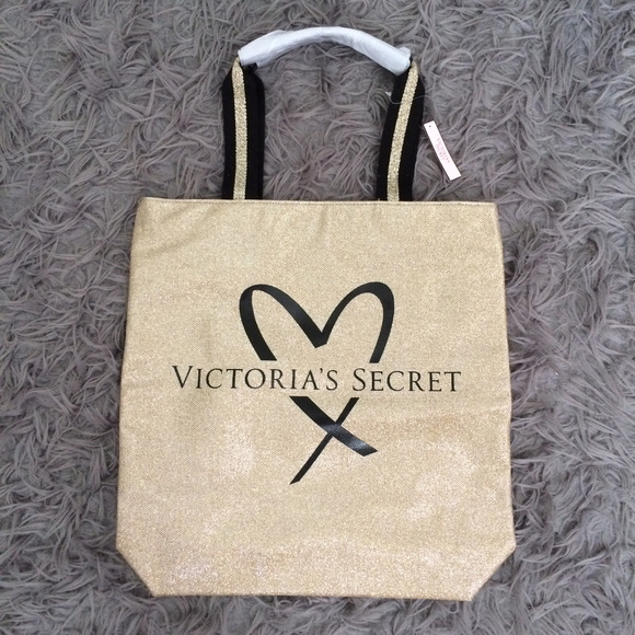 Victoria's Secret Handbags - Gold Sparkly Victoria's Secret Tote Weekender Bag